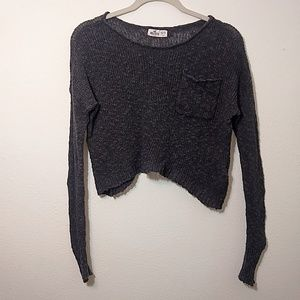 Hollister | Gray Cropped Knit Long Sleeve Top XS/S